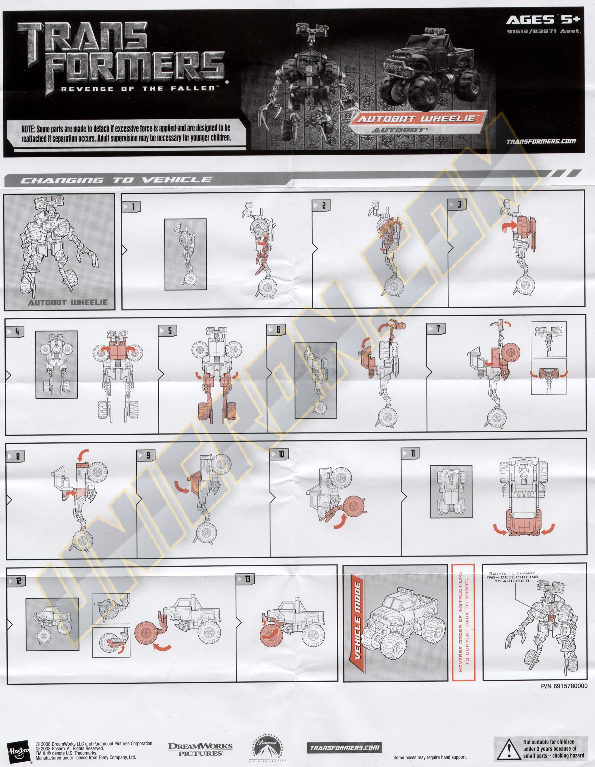 optimus prime revenge of the fallen toy instructions