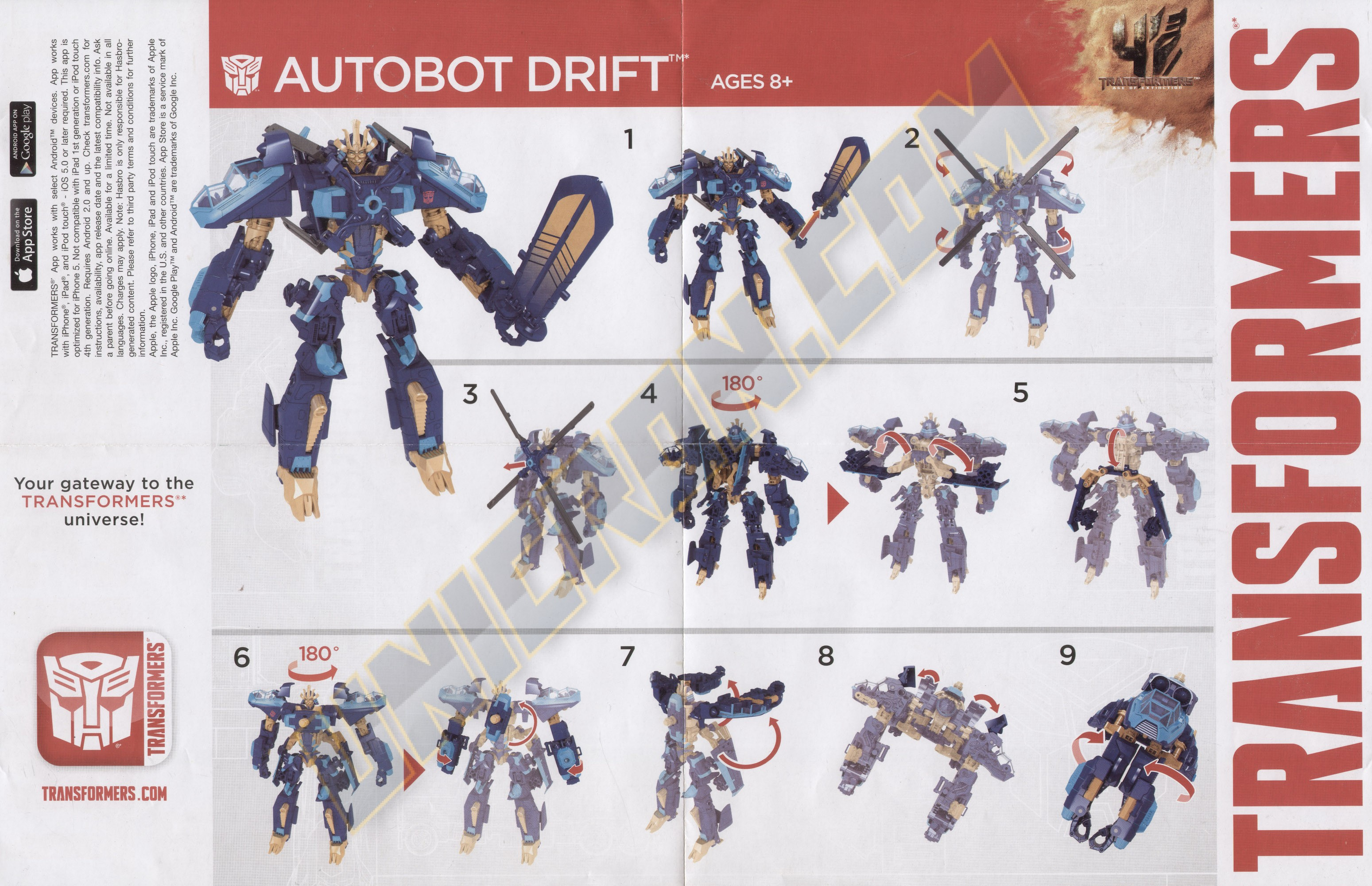 Transformers 4 Age Of Extinction Autobot Drift Voyager Helicopter