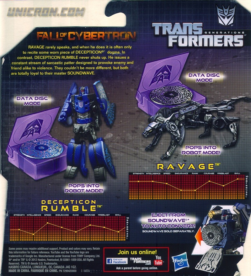 TRANSFORMERS GENERATIONS FALL OF CYBERTRON RAVAGE /& RUMBLE FIGURES